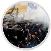 Holding The Line At Gettysburg Round Beach Towel