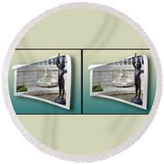 Holding Up My End - Gently Cross Your Eyes And Focus On The Middle Image Round Beach Towel