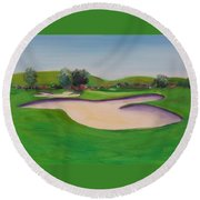 Hole 10 Pastures Of Heaven Round Beach Towel