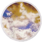 Hole In The Cloud Round Beach Towel