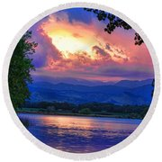 Hole In The Sky Sunset Round Beach Towel
