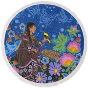 Hole In The Sky's Daughter Round Beach Towel