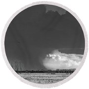Holes In The Sky Round Beach Towel