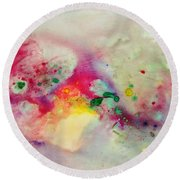 Holi-colorbubbles Abstract Round Beach Towel