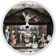 Holiday Christmas Manger Pa 01 Round Beach Towel