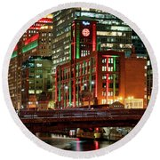 Holiday Colors Along Chicago River Round Beach Towel