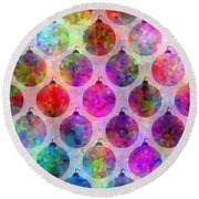 Holiday Colors - Christmas Pattern Round Beach Towel