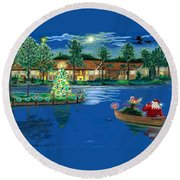 Holiday Delivery At Whisper Lake  Round Beach Towel