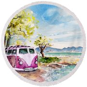 Holiday In Cala Ratjada Round Beach Towel