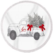 Holiday Joy Chesilhurst Farm Round Beach Towel