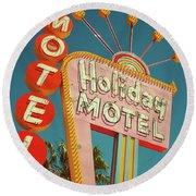Holiday Motel, Las Vegas Round Beach Towel