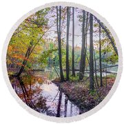 Holiday Park Lake At Dusk Round Beach Towel