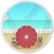 Holiday Romance Behind The Red Umbrella Round Beach Towel