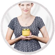 Holistic Naturopath Holding Jar Of Homemade Spread Round Beach Towel
