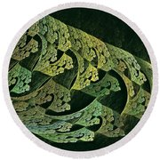 Hollow World W Forest Moon Round Beach Towel