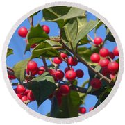 Holly Berries On A Wintry Day I Round Beach Towel