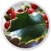 Holly Berries- Photograph By Linda Woods Round Beach Towel