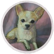 Holly The Chihuahua Round Beach Towel