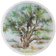 Holly Tree Round Beach Towel