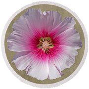 Hollyhock On Linen 2 Round Beach Towel