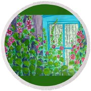 Hollyhock Surprise Round Beach Towel