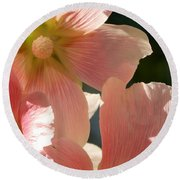 Hollyhocks 5 2017 Round Beach Towel