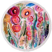 Hollyhocks Of The Garden Round Beach Towel
