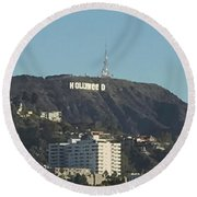 Hollyweed Sign Round Beach Towel