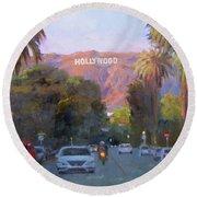 Hollywood Sunset Round Beach Towel