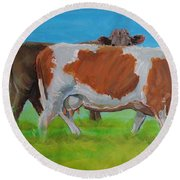 Holstein Friesian Cow And Brown Cow Round Beach Towel