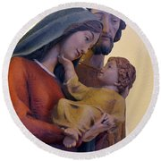 Holy Family Statue Round Beach Towel