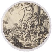 Holy Family With Putti Round Beach Towel
