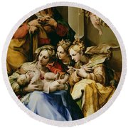 Holy Family With Saint Anne Catherine Of Alexandria And Mary Magdalene Round Beach Towel