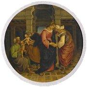 Holy Family With Saints John Elisabeth And Zacharias Round Beach Towel