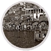 Holy Ganges Monochrome Round Beach Towel