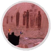 Holy Ghost Petroglyph Into The Mystic Round Beach Towel
