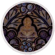 Holy In Peace And Acryl Round Beach Towel