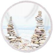Holy Island Pebbles Round Beach Towel