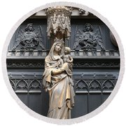 Holy Mary And Child Round Beach Towel