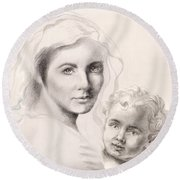 Holy Mary And Christ Child Round Beach Towel