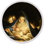Holy Night Round Beach Towel