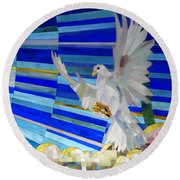 Holy Spirit Dove Round Beach Towel