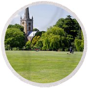 Holy Trinity Church At Stratford Upon Avon Round Beach Towel