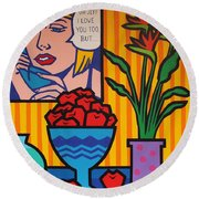 Homage To Lichtenstein And Wesselmann Round Beach Towel