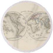 Homalographic World Map  Round Beach Towel