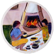 Home And Hearth In Taos Round Beach Towel