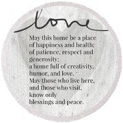 Home Blessing Rustic- Art By Linda Woods Round Beach Towel by Linda Woods