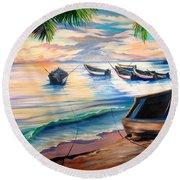 Home From The Sea Round Beach Towel