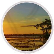 Home Home On The Swamp Round Beach Towel