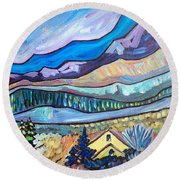 Home In The Hills Round Beach Towel